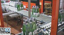 Ligne de palettisation de bouteilles de vin